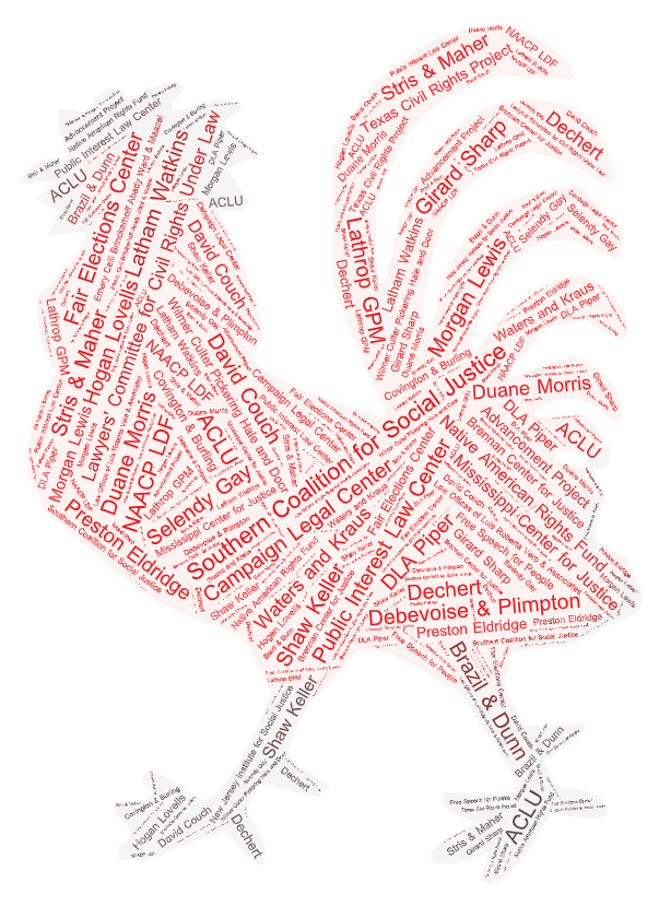 a red rooster created out of the name of all of the litigation partners listed in the blog