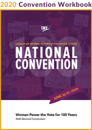 Cover of LWV 2020 Convention Workbook - clickable link