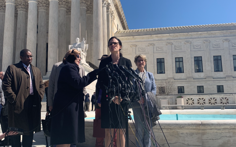 Allison Riggs, Attorney for LWV of North Carolina speaks to press outside the Supreme Court on March 26, 2019