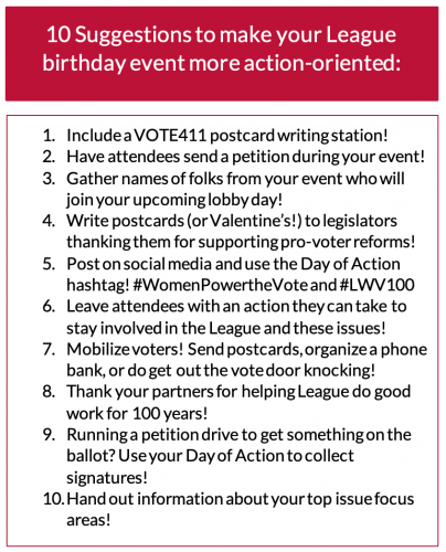 Day of Action activities