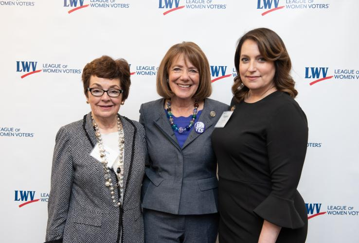 Chris Carson, Rep Susan Davis, Virginia Kase at the LWVUS reception for the women of Congress