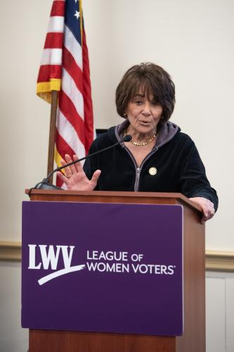Rep. Anna Eshoo (D-CA) speaks at LWVUS reception for women of Congress