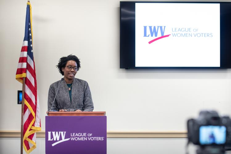 Rep. Lauren Underwood (D-IL) speaks at LWVUS reception for women of Congress