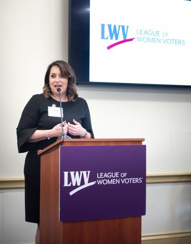 Virginia Kase speaks at LWVUS reception for female members of Congress