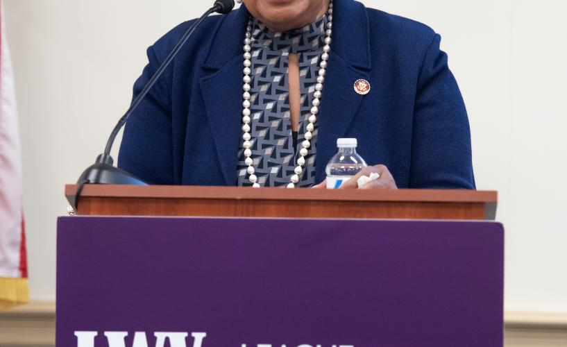 Rep Eddie Bernice Johnson (D-TX) speaks at LWVUS reception for women of Congress